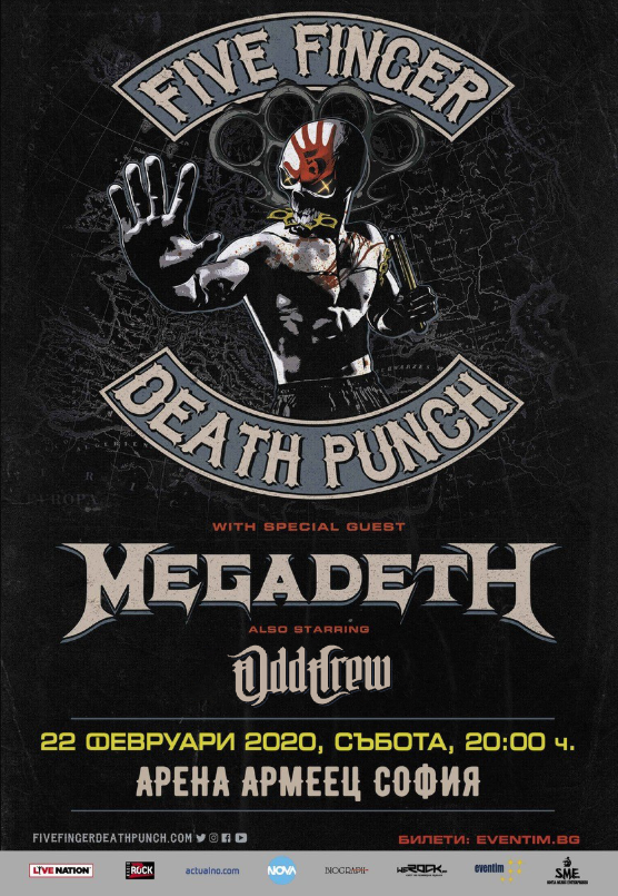 ODD CREW to open the FIVE FINGER DEATH PUNCH and MEGADETH show at Arena Armeec, Sofia
